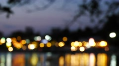 Night city is defocused with nice bokeh and typical city noise Stock Footage