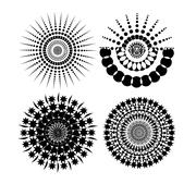 Round Ornament Pattern with pattern brush Stock Illustration