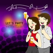 Funny party friendship cartoon vector Stock Illustration