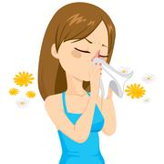 Girl Blowing Nose With Tissue Stock Illustration