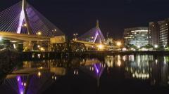 Boston Moonrise with the Leonard P. Zakim Bunker Hill Bridge Stock Footage