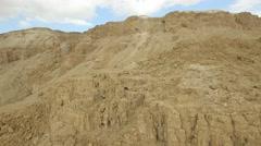 Judean Desert rock formations near Qumran  (Israel aerial footage) Stock Footage