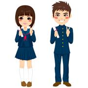 Japanese Students Uniform Stock Illustration
