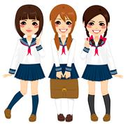 Japanese School Girls Uniform Stock Illustration
