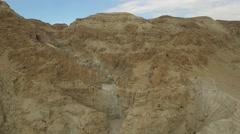 Dried waterfall in Judaean Wilderness - Israel aerial footage Stock Footage