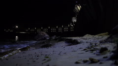 Moon Light Reflecting in Sea Waves near the Beach . Static Shoot Stock Footage