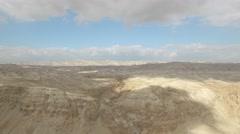 Dried waterfall and hills in Judaean Desert - Israel aerial footage Stock Footage