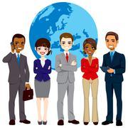 Multi Ethnic Global Businesspeople Team Stock Illustration