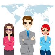 Confident Businesspeople Global Team Stock Illustration