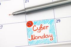 Reminder Cyber Monday in calendar with pen Kuvituskuvat