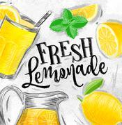 Poster fresh lemonade Stock Illustration
