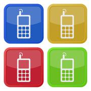 Set of four square icons - old mobile phone Stock Illustration