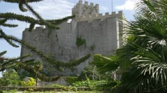 Duino castle garden with beautiful plants Stock Footage