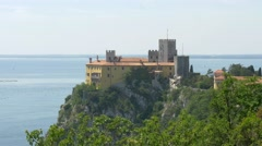 Duino castle seen from Rilke trail Stock Footage