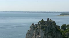 Duino castle ruins looking to Monfalcone coast Stock Footage