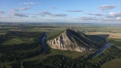 Evening flight over the mountain, Bashkortostan, Russia Stock Footage
