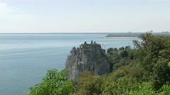 Looking to Duino ruins from Duino castle Stock Footage