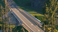 Road bridge car rides Stock Footage