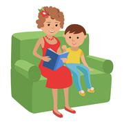 Illustration of mother reading a book for son Stock Illustration
