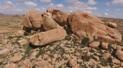Aerial view of granite outcrop, Northern Cape, South Africa Stock Footage