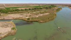 Aerial view of the Orange river and irrigation, Northern Cape, South Africa Stock Footage