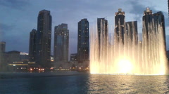 Dubai night fountain Stock Footage