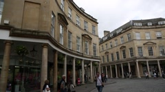 Roman Baths in the City of Bath City - pan Stock Footage