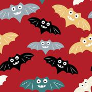 Halloween seamless pattern with colorul bat. Beautiful vector background for  Stock Illustration