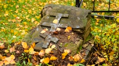 Old Grave With A Cross Stock Footage
