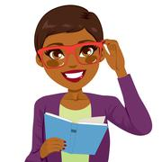 African American Girl Reading Book Stock Illustration