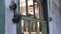 Office window inside Abandoned Factory Stock Footage