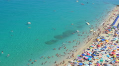 Tropea, Italy-  sea, sun, beach and bathers in a typical Italian seaside resort Stock Footage