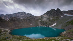 Mountain lake with blue water Stock Footage