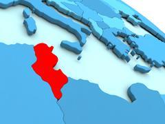 Tunisia in red on blue globe Stock Illustration