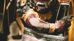 Balinese God statue at the entrance to the temple. Bali Indonesia Stock Footage