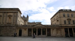 Roman Baths in the city of Bath - tilt Stock Footage