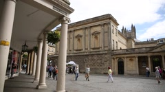 Roman Baths in the City of Bath - pan Stock Footage
