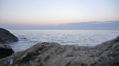 Early Morning Sunrise over the Sea where Birds Flying Stock Footage