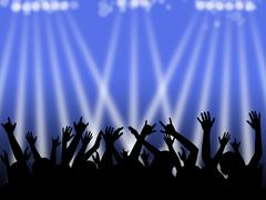 Dancing Crowd With Blue and White Lights Stock Illustration
