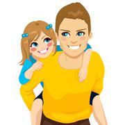 Daughter And Dad Piggyback Ride Stock Illustration
