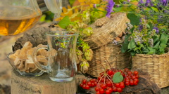 Autumn Still Life With Tea And Berries Stock Footage