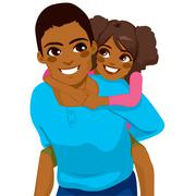 African American Father Daughter Piggyback Stock Illustration