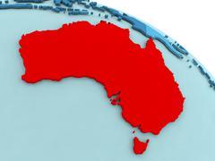 Australia in red on blue globe Stock Illustration