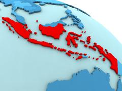Indonesia in red on blue globe Stock Illustration