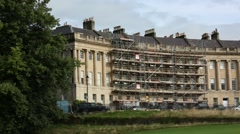 Scaffolding: restauration of a traditional English Building in the City of Bath Stock Footage