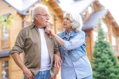 Mature husband and wife having walk outside Stock Photos