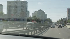 Driving a car in the city Stock Footage