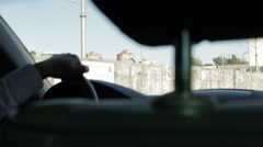 Driving a Car in The City Traffic Stock Footage