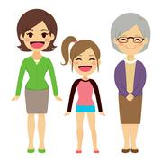 Three Generation Women Stock Illustration