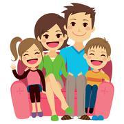 Happy Family Sofa Stock Illustration